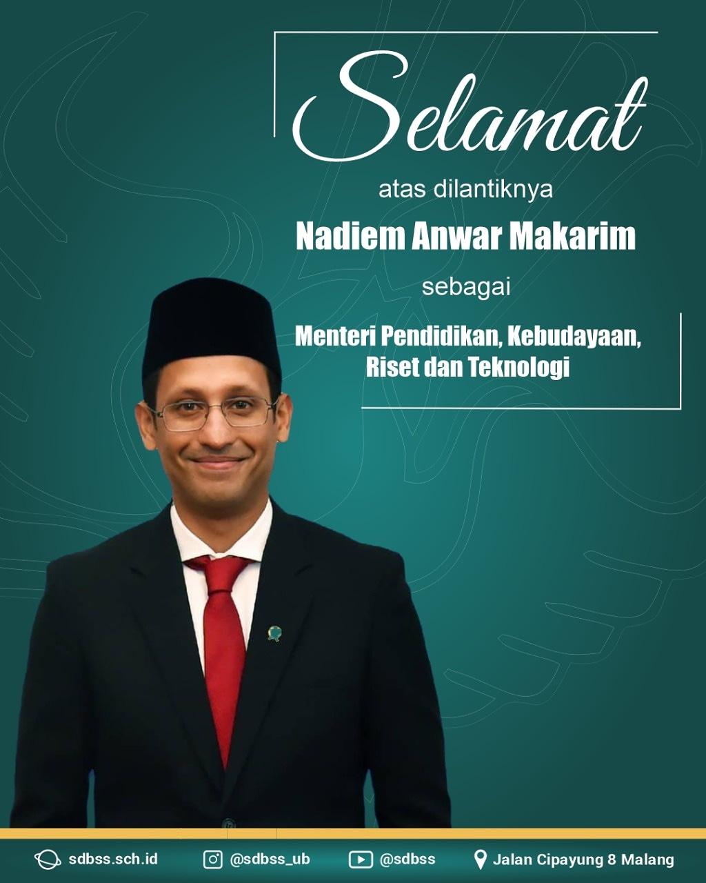 Selamat dan Sukses Menteri Pendidikan Kebudayaan Riset dan Teknologi